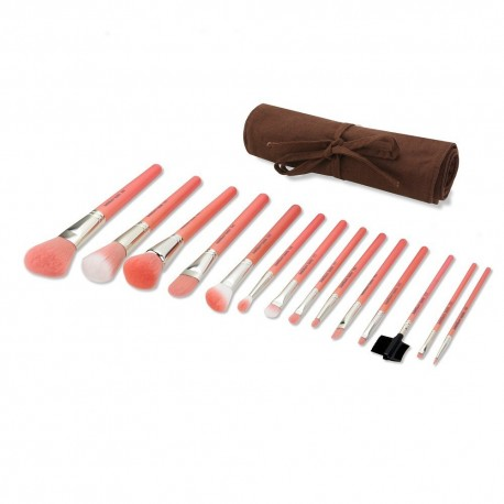 Bdellium Tools Pink Bambu Complete 14pc. Brush Set with Roll-up Pouch