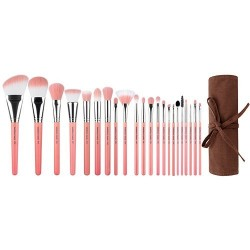 Bdellium Tools Pink Bambu Deluxe 22pc. Brush Set with Roll-up Pouch